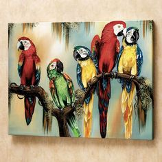 Deeply inquisitive eyes peer out of the hand-signed canvas, focusing Feathered Curiosity on you. Delightful macaws are naturally curious birds. Giclee art is stretched over a wooden frame. Made in the USA. Diy Canvas, Canvas Wall Art, Bird Paintings On Canvas, Acrylic Paintings, Parrot Painting, Drawing Blood, Oeuvre D'art, Wall Sculptures, Diy Art