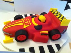 "Madeira and buttercream sponge FORMULA ONE RACING CAR CAKE. First ever attempt at a 3D effect cake. Designed from ""Karen Brown Easy Party Cakes"" book. First Birthday Cakes, Birthday Parties, Race Car Cakes, Cake Slicer, Race Car Party, Homemade Cakes, Formula One, Party Cakes, Little Boys"