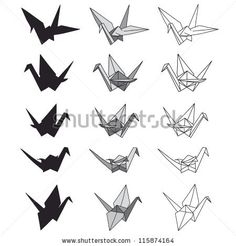 Set of paper cranes on white. Origami in vector by Julia Ra, via Shutterstock