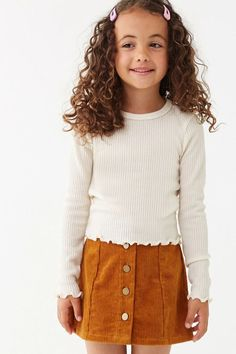Girls Lettuce-Edge Top (Kids) Kids Spring Fashion Details Forever 21 Girls - A ribbed knit top featuring a round neckline, long sleeves, and a lettuce-edge trim. Content + Care - polyester, spandex - Hand wash cold Size + Fit - Model is and wearing a Size Girls Fall Fashion, Girls Fall Outfits, Little Girl Outfits, Cute Girl Outfits, Cute Outfits For Kids, Little Girl Fashion, Toddler Outfits, Cute Girls, Fashion Outfits