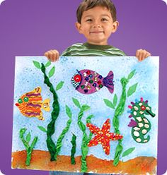 Ocean Mural:  After learning about all of the creatures that call the ocean home, the preschool children could create a mural to celebrate them.  I would love to make an entire wall into the ocean mural with the children's ocean creatures placed all around it.  The children creating any creature in their own way would be very DAP.