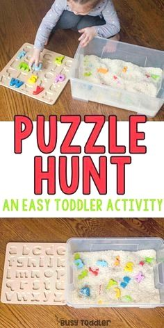 Puzzle Hunt Sensory Bin - Busy Toddler : Puzzle Hunt Sensory Bin - Busy Toddler What a great quick and easy toddler activity! Make a puzzle hunt sensory bin for a perfect indoor toddler activity! An easy toddler sensory bin. Toddler Sensory Bins, Preschool Learning Activities, Toddler Play, Infant Activities, Kids Learning, Childcare Activities, Toddler Games, Learning Activities For Toddlers, Indoor Toddler Activities