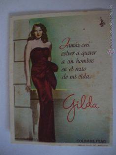 RARO FOLLETO MANO CINE GILDA DE PEQUEÑO FORMATO CON DEDICATORIA, RITA HAYWORTH, 1946