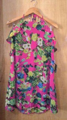 vestido floral de chiffon decote e babadinhos+ brinde