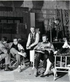 strikingtheset:    Sergio Leone, Lee Van Cleef and Clint Eastwood on the set of A Few Dollars More (1965)