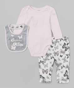 Take a look at this Pink Butterfly Bodysuit Set - Infant on zulily today!