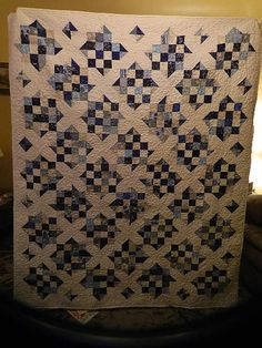Blue and White Quilt Idea to use my checker board squares.