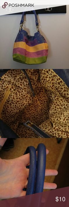 """Rainbow bag Multi colored purse with leopard print inside lining. This purse measures 6.5"""" width, 12"""" length, and 12""""deep. In great condition. Has all functioning gold hardware. none Bags Shoulder Bags"""