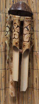 Burnt Flower Motif Bamboo Wind Chimes - Coastal Garden Decor - California Seashell Company
