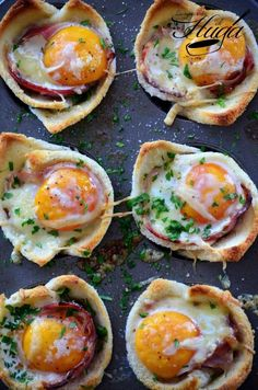 Mini croque-madames baked in a muffin tray