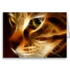 Beautiful #Ghostly #Fire #Cat Greeting Cards