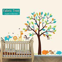Animal Stickers for Kids, Hippo, Tiger, Rhino, Elephant, Lion, Fabric Tree Jungle Teal Nursery Decals and More http://www.amazon.com/dp/B00LMK6XHQ/ref=cm_sw_r_pi_dp_Sq89ub1FVWHCS