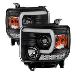 ( Spyder ) GMC Sierra 1500/2500HD/3500HD 14-15 (compatible on models w/factory LED Daytime Running Light Only) Projector Headlights - Light Bar DRL - Black