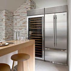 Sub Zero stainless steel fridge and wine refrigerator