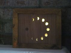 Moon Phases Glass and Timber Art Picture Lamp Handmade Lightbox Night Light.