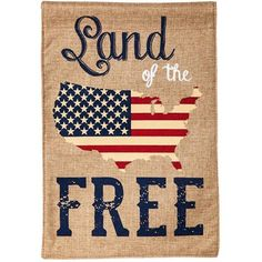 Land of the Free Burlap Double Sided Garden Flag