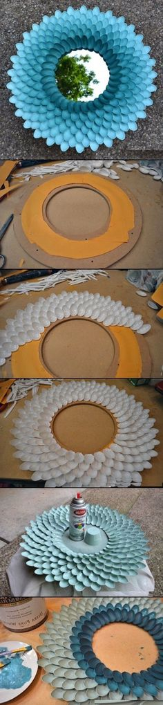 DIY Mirror from plastic spoons: