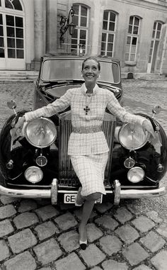 Marisa Berenson in a Chanel suit on a Rolls Royce, 1969