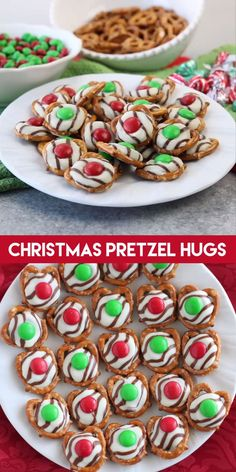 christmas snacks These festive Christmas Pretzel Hugs are melted just enough to press an Mamp;M on the top. Let the chocolate set back up and then package them for neighbor gifts, or place them on a plate for the perfect salty-sweet treat! Christmas Pretzels, Easy Christmas Treats, Christmas Deserts, Holiday Snacks, Christmas Party Food, Xmas Food, Christmas Cooking, Holiday Recipes, Christmas Neighbor