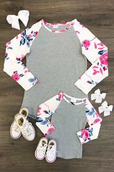 Mom & Me - Gray/White Floral T-Shirt