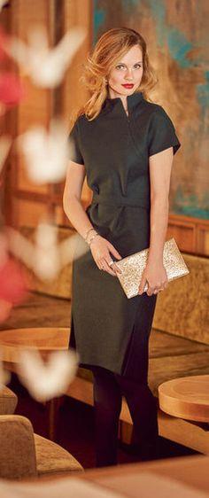 Dress Burda Oct 2015 #113AB Pattern $5.99: http://www.burdastyle.com/pattern_store/patterns/high-collar-dress-102015