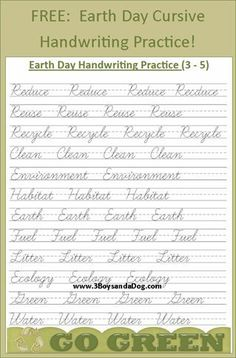 Help your third - fifth grade student(s) improve their cursive writing skills with this fun Earth Day handwriting printable! This is also a great way to discuss upcoming Earth Day and how your child can Cursive Handwriting Practice, Teaching Cursive, Handwriting Recognition, Cursive Writing Worksheets, Cursive Alphabet, Improve Your Handwriting, Handwriting Analysis, Handwriting Activities, Spanish Alphabet