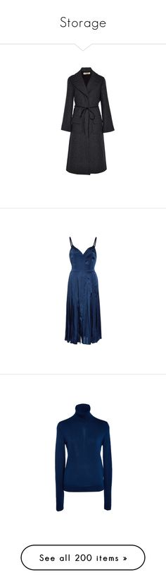 """Storage"" by amberelb ❤ liked on Polyvore featuring outerwear, coats, nina ricci coat, nina ricci, tie belt, blue camisole, satin cami, blue cami, satin camisole and jackets"