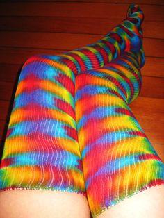 Tie Dye Psychedelic Thigh High Dance Socks - Hula Hoop - Burning Man Festival Leg Warmers