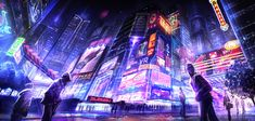 I like the bright contrast in this one with the tall buildings and the classic Cyberpunk colour theme.