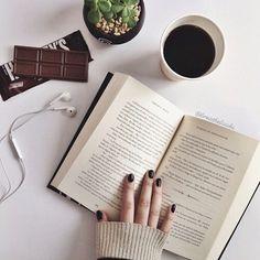 Imagen de book, coffee, and chocolate