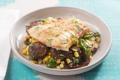 Recipe: Brown Butter Cod with Corn, Shishito Peppers & Purple Potatoes - Blue Apron Cod Recipes, Fish Recipes, Seafood Recipes, Purple Potatoes, Baby Potatoes, Roasted Cod, Brown Butter Sauce, Sample Recipe, Sauteed Vegetables