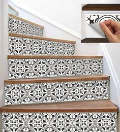 Stair Riser Vinyl Strips Removable Sticker Peel & Stick : for stairs to master. reconfigure stairway so that door is at top Tile Stairs, Basement Stairs, Painted Staircases, Painted Banister, Staircase Makeover, Tile Decals, Stair Risers, Staircase Design, Staircase Ideas