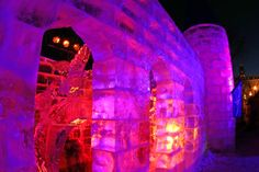 The Ice Palace is one of the Quebec Winter Carnival's central attractions. Quebec City, Quebec, Canada