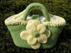 Felted Green and Yellow Tote with Large Felted Flower..... from Designs by Fredericka - $45.00 USD
