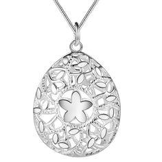 Caliente nuevo diseño forma hueco de la flor colgante de plata collar de la manera joyería del partido para las mujeres del regalo de boda…