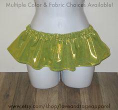 Micro Skirts: Buyers choose from a variety of fabrics and colors. #rave #music #festival #club #ravewear #clubwear #dance #gogo #dancer #edm #plur #edc #umf #custom #bra #tutu www.etsy.com/shop/loveandrageapparel