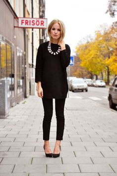 Generally my rule of thumb. All black + one statement piece. Shoes, accessories what have you.