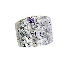 Amethyst Silver Ring L-1in seductive Purple handmade AU KMOQ