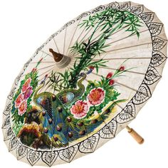 Hand-painted Peacock Mulberry Paper Parasol (655 MXN) ❤ liked on Polyvore featuring home, home decor, peacock, cultural intrigue, peacock home accessories, peacock home decor and paper parasols