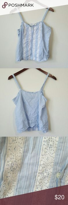 VS country lace top VS Country baby blue tank top with striped white lace panels in front. Adjustable straps. Buttons up in front. Can be worn as a girly, casual top or a PJ top. No flaws. Size M, medium. Victoria's Secret Tops Tank Tops