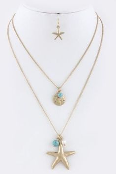 Starfish sand dollar necklace