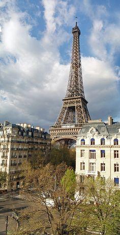 ღღ Eiffel Tower  ~~~  Looking across Avenue de Suffen and along Avenue Octave Gréard to the Eiffel Tower. Taken from the balcony of my room at the Hilton Paris Eiffel hotel.