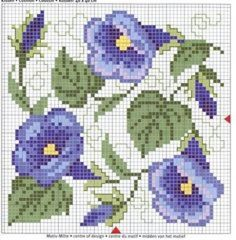 Cross-stitch Morning Glories Biscornu pattern... no color chart available, just use pattern chart as your color guide. or choose your own colors...