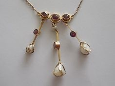 Vintage Edwardian Gold Pearl Ruby Drop Necklace  -BEAUTIFUL by BraceletstoBuckles on Etsy