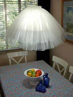 TuTu (tulle) skirt hanging lamp-ballet enthusiasts & little girls everywhere! 21 Creative DIY Lighting Ideas!