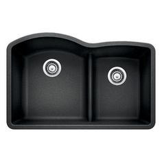 BLANCO Diamond 32-in x 20.875-in Anthracite Double-Basin Granite Undermount 2-Hole Residential Kitchen Sink