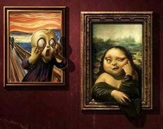Mona lisa scream funny art Wallpaper in Funny Baby Images, Funny Pictures For Kids, Funny Animal Pictures, Funny Kids, Art Pictures, Mona Lisa, Art Ninja, American Funny Videos, Justin Bieber Jokes