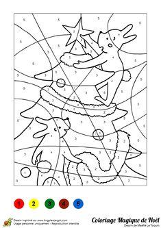 Le lapin pose l'étoile sur le sapin, un jeu de coloriage magique.
