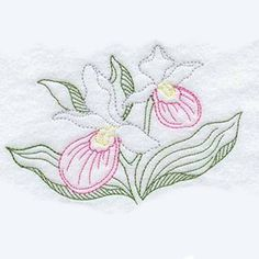 Lady's Slipper Tea Towel  Embroidered Towel by CharlenesEmbroidery