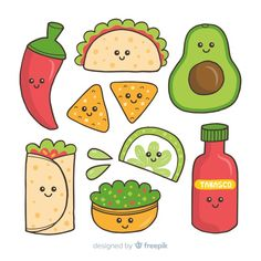 Discover thousands of free-copyright vectors on Freepik Cute Food Drawings, Cute Cartoon Drawings, Mini Drawings, Cute Kawaii Drawings, Kawaii Doodles, Cute Doodles, Doodle Drawings, Griffonnages Kawaii, Easy Doodle Art